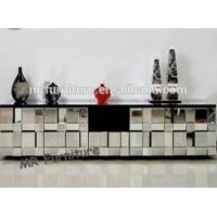 Muti Faceted Glass Mirror TV Stand , Beveled Full Mirrored Glass TV Unit Manufactures