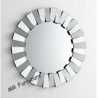 Fashionable 3D Wall Mirror With Metal Mounting Wooden Frame Dia 90cm Manufactures