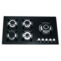 Black Glass Gas Hob 5 Burners 90cm , Built In 8mm Tempered Glass Top Gas Hob Manufactures