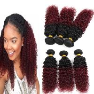 8A Brazilian Virgin Hair Ombre Human Hair Extensions 1B / 99J Kinky Curly Hair Manufactures