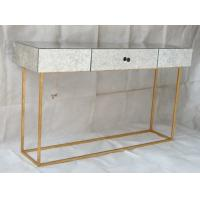 Quality Large Size Square Mirrored Coffee Table Antique Gold Leaves Finish for sale