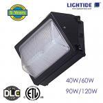 DLC qualified Semi cutoff LED Wall Pack Lights, 40W, 120 LPW, 100-277vac, 5 yrs warranty Manufactures