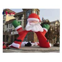 Red Santa Claus Inflatable Holiday Decor , Advertising Inflatable Arch Way 6m Size Manufactures