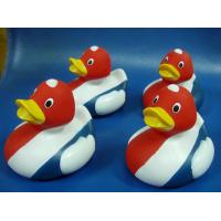 Promotional Flag Colored Squeezing Rubber Ducks , Soft Squeezing Tiny Plastic Ducks  Manufactures
