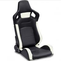 PVC Adjustable White And Black Racing Seats / Sports Car Seat with single slider Manufactures
