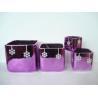 Purple Electroplate Ceramic Indoor Plant Pots , Square Ceramic Pots For Plants 10 X 10 X 10 Cm Manufactures