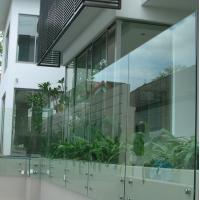 Standoff Glass Building Deck Railing , Stainless Steel Guardrail Systems 900-1200mm Height Manufactures