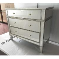 Quality 3 Drawers Silver Mirrored Nightstand , Bedroom Mirrored Glass Bedside Table for sale