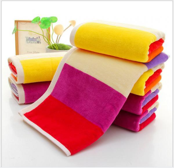 Quality 35*75cm  420gsm  color bar face towel  cut pile super soft towel face towel for sale