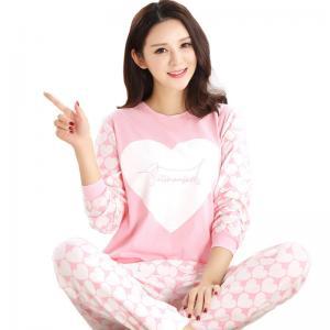 China Spring Fall Ladies Pyjama Sets Pink Girl Long Sleeve Cotton Love Print Pajamas on sale