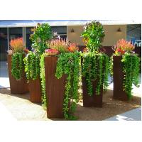 Modern Style Large Corten Steel Planter Boxes For Outdoor Decoration 80cm Height  Manufactures