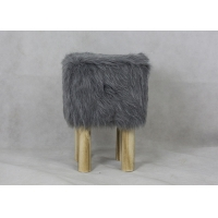 Square Faux Fur Seat BSCI 60KG H41CM Modern Bedroom Stool Manufactures