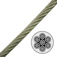 "7x19 1/8"" to 3/16"" Steel Aircraft Cable Galvanized , vinyl coated wire rope 2000lb WLL Manufactures"