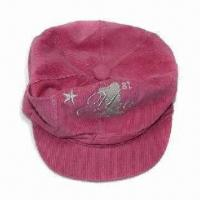 Children's Newsboy Hat with Lurex Embroidery, Made of Corduroy Fabric Manufactures