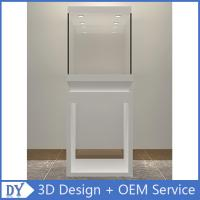 Wholesale good quality wooden square matte white perspex display stands with fully locks lights
