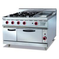 Commercial Gas Range 4-Burner With Griddle and Bottom Oven Western Kitchen Equipment Manufactures