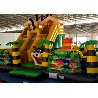 Inflatable Green Palm Tree Animal Zoo Commercial Bounce Houses For Kids 10m L * 7m W *5.2m H Manufactures