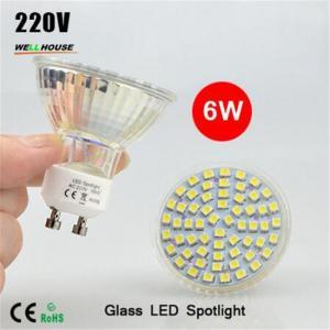 NEW LED Spotlight GU10 lamp 6W AC 220V Heat-resistant Glass Body 3528 SMD 60LEDs White/Warm White LED Bulbs lighting Manufactures