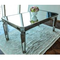 Glass Mirrored Dining Table Luxury Design Strong Wood Legs 76cm Height Manufactures