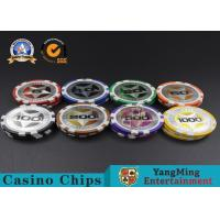 Buy cheap ABS Casino Poker Chips , Gambling Plastic Sticker Poker Chips Coins Yangming from wholesalers