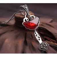 China Sterling silver garnet pendant necklace gemstone silver jewelry necklace for her on sale