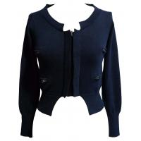 Quality Black Womns Four Zip Pocket Short Knit Sweaters Jacket With Cotton Wool Blended for sale