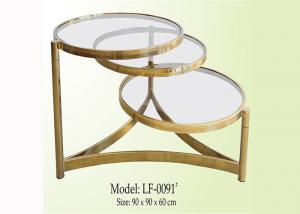 China Living Room 90*90CM 40KGS Round Glass Coffee Table on sale