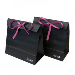 Tie Bowknot Custom Logo Print Matte Black Paper Gift Bag Medium Size Manufactures