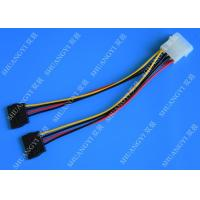 4P Molex To Dual SATA Flat Wire Harness And Cable Assembly Black Red Yellow With Y Cable Adapter Manufactures