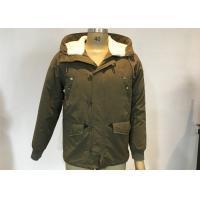 Army Green Mens Medium Trench Coat Sherping Lined Cotton Filling Casual Hooded Jacket Manufactures
