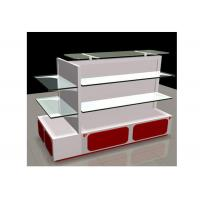 White Gondola Shop Shelving With 2mm Thickness Glass Shelf , Recyclable Liquor Store Shelving Manufactures