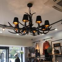 Buy cheap Black antler chandelier Lighting With Lampshade For Coffee Bar Restaurant (WH-AC from wholesalers