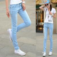 Jeans Women Straight Slim Leg Cotton&Polyster Light Blue with Elastic Fabric Manufactures