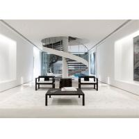 White Stainless Steel Spiral Staircase , Strong Spiral Stairs For Small Spaces Manufactures