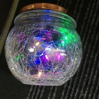 IP44 Outdoor Decorative Solar Lights 10 LED Colorful Solar Crackle Glass Jars Manufactures
