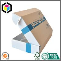 White Color Blue Logo Print Corrugated Cardboard Small Size Shipping Box Manufactures