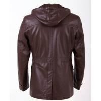 Luxury and Casual, Size 48, Size 50, Young Mens Fashion Hooded PU Leather Coat Manufactures