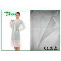 Economical SMS Nonwoven Disposable Lab Coats with Knitted Collar and Velcro Manufactures