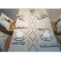 Country Style Geometric Decorative Table Cloths Embroidered Linen Cotton Material Manufactures