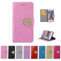 Quality Glitter PU leather wallet Case For iPhone 4 5s 6 plus 7 SAMSUNG galaxy s5 s4 S6 for sale