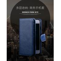 Magnetic Clip Leather Iphone 6 Plus Wallet Case Detachable Dark - Blue Manufactures