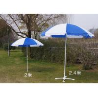 Blue And White Outdoor Garden Umbrellas With Your Logo Printed , White Shaft Manufactures