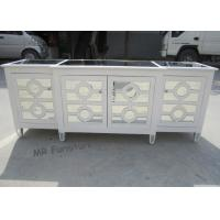 Quality White Mirrored Side Board Circles Door Pattern Style Wooden Material for sale