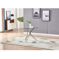 China Restaurant Furniture 75cm 30kgs Modern Glass Dining Table on sale