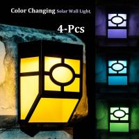 Multi-Color Solar Fence Lights Color Changing Solar Wall Lights for Garden Decor Manufactures