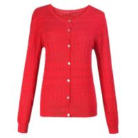 Spring Cotton Jacquared Womens Knit Sweaters Long Sleeve Red ladies cardigan sweaters Manufactures