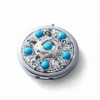 custom make in mirror factory metal silver diamonds cosmetic mirror for girl`s Manufactures