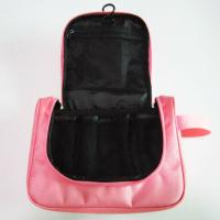 Cute Nylon Hanging Travel Makeup Bag Pink Color For Women Wash Manufactures