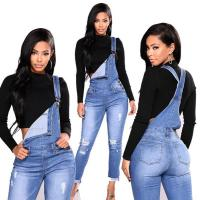 China Custom Elastic Long Bib Blue Ripped Jeans Womens Ripped Jeans For Girls on sale