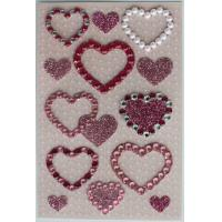 Pearl Jewelry Rhinestone Heart Stickers Sheets For Stationery Silk Printing for sale